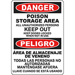 DANGER Poison Storage Area Bilingual Sign