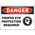 DANGER Proper Eye Protection Required Sign