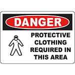 DANGER Protective Clothing Required Sign w/Symbol