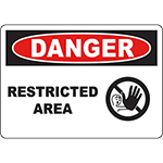 DANGER Restricted Area Sign w/Symbol