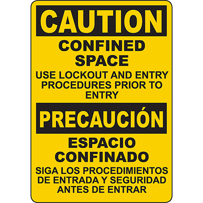 CAUTION Confined Space Bilingual Sign