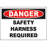 DANGER Safety Harness Required Sign