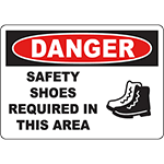 DANGER Safety Shoes Required In This Area Sign w/Symbol