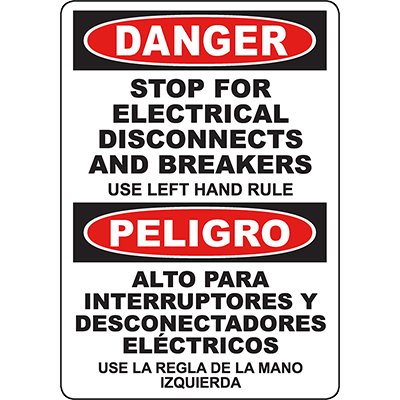 DANGER Electrical Disconnects And Breakers Bilingual Sign