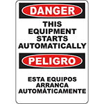 DANGER This Equipment Starts Automatically Bilingual Sign