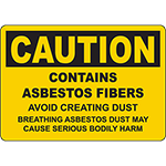 CAUTION Contains Asbestos Fibers Sign