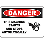 DANGER Machine Start Stop Automatically (icon) Sign w/Symbol