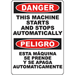 DANGER Machine Starts & Stops Bilingual Sign
