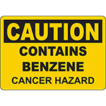 CAUTION Contains Benzene Cancer Hazard Sign
