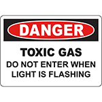 DANGER Gas Do Not Enter When Light Is Flashing Sign