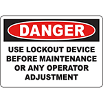 DANGER Use Lockout Device Before Maintenance Sign