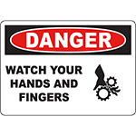 DANGER Watch Your Hands And Fingers Sign w/Symbol