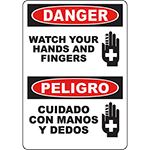 DANGER Watch Your Hands And Fingers Bilingual Sign