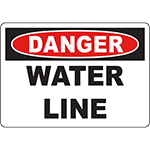 DANGER Water Line Sign