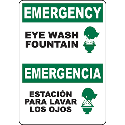 EMERGENCY Eye Wash Fountain Bilingual Sign