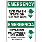 EMERGENCY Eye Wash Station Keep Area Clear Bilingual Sign