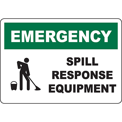 EMERGENCY Spill Response Equipment Sign w/Symbol