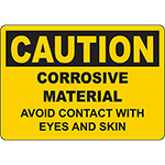 CAUTION Corrosive Material Avoid Contact Sign