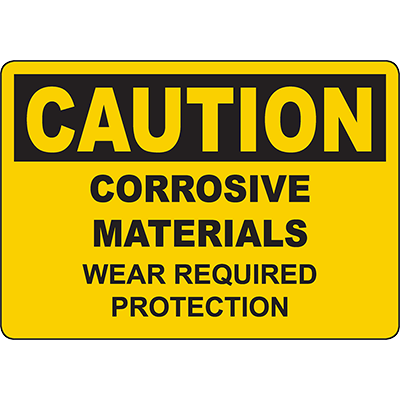 CAUTION Corrosive Materials Wear Required Protection Sign