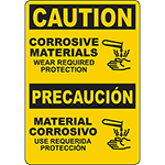 CAUTION Corrosive Materials Bilingual Sign