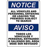 NOTICE Vehicles And Personnel Subject To Search Bilingual Sign