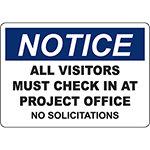 NOTICE Visitors Must Check In At Office Sign