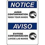 NOTICE Avoid Contamination Bilingual Sign