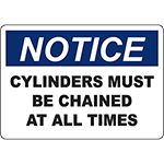 NOTICE Cylinders Must Be Chained At All Times Sign
