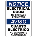 NOTICE Electrical Room Bilingual Sign