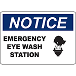 NOTICE Emergency Eye Wash Station Sign