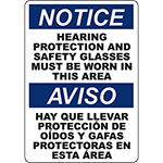 NOTICE Hearing Protection And Safety Glasses Bilingual Sign