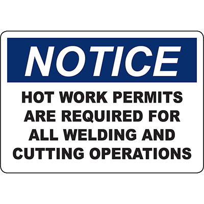 NOTICE Hot Work Permits Are Required Sign