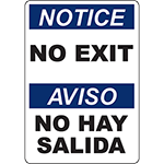 NOTICE No Exit Bilingual Sign