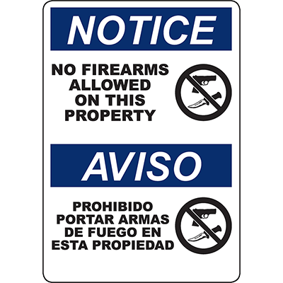 NOTICE No Firearms Allowed On This Property Bilingual Sign