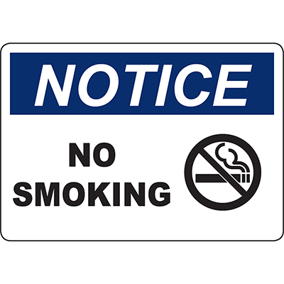 NOTICE No Smoking Sign w/Symbol