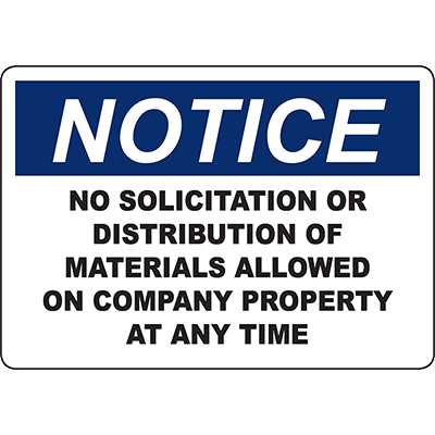 NOTICE No Solicitation Allowed At Company Sign
