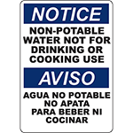 NOTICE Non-Potable Water Not For Drinking Bilingual Sign