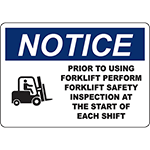 NOTICE Perform Forklift Safety Inspection Sign