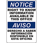 NOTICE Right To Know Information Available Bilingual Sign