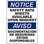NOTICE Safety Data Sheets Available Bilingual Sign
