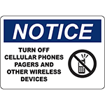 NOTICE Turn Off Phones And Wireless Devices Sign
