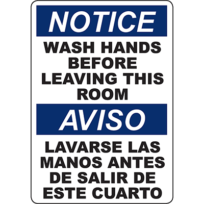 NOTICE Wash Hands Before Leaving This Room Bilingual Sign