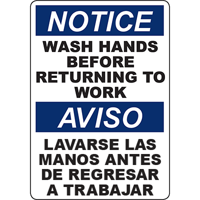 NOTICE Wash Hands Before Returning To Work Bilingual Sign