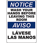 NOTICE Wash Your Hands Before Leaving Bilingual Sign