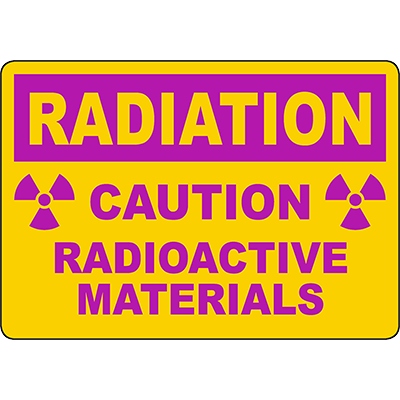RADIATION Caution Radioactive Materials Sign