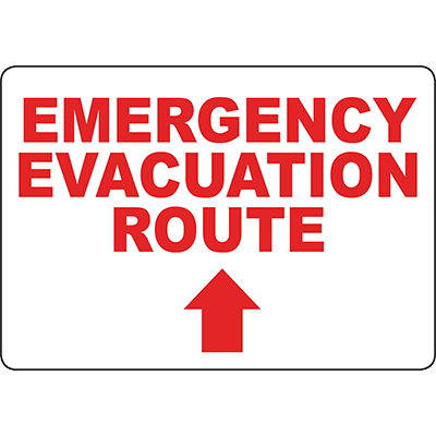 Emergency Evacuation Route Up arrow Sign