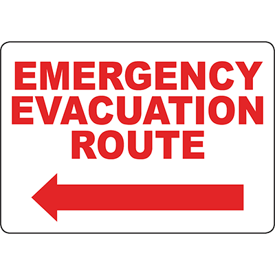Emergency Evacuation Route Left arrow Sign