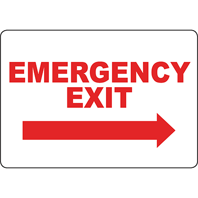 Emergency Exit Right arrow Sign