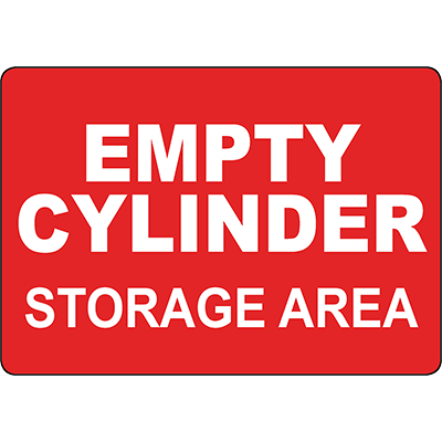 Empty Cylinder Storage Area Sign
