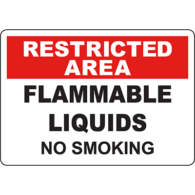 RESTRICTED AREA Flammable Liquids No Smoking Sign